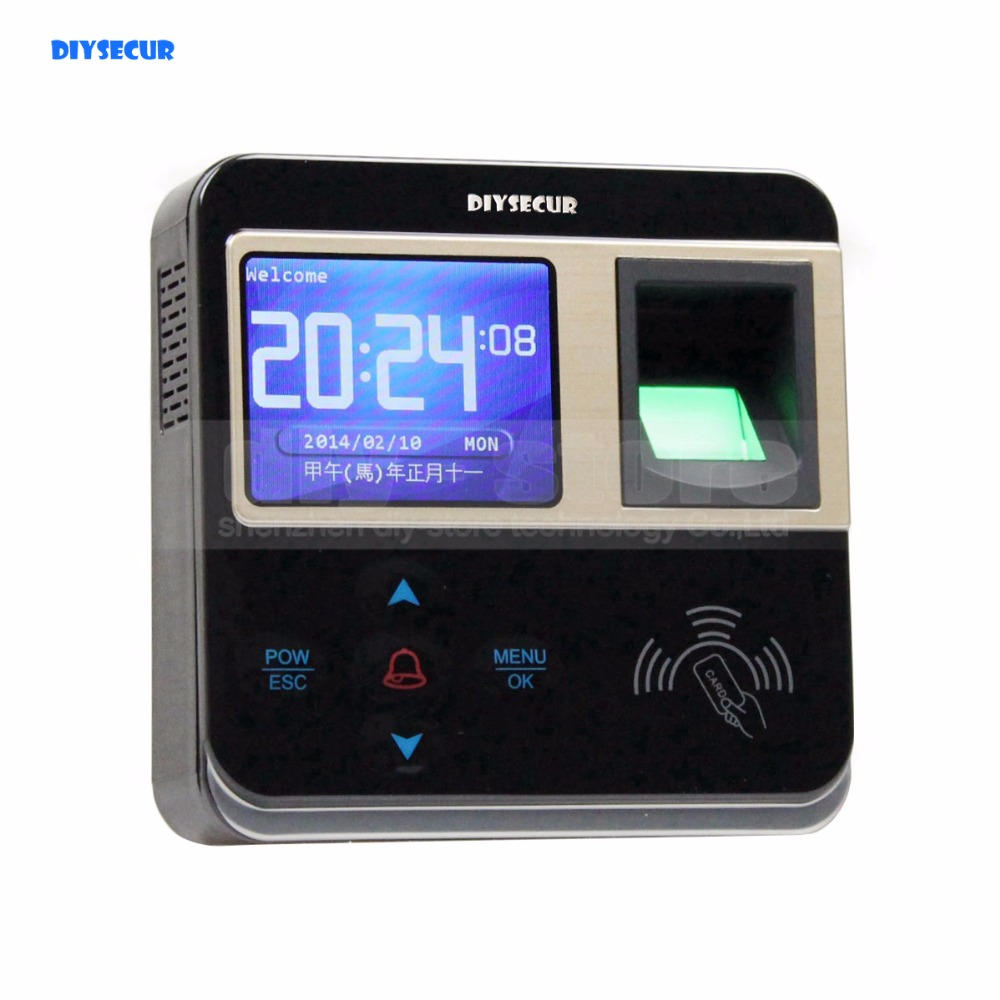 DIYSECUR New Fingerprint And RFID Time Clock And Access Control With TCP/IP + Color Screen new time a11