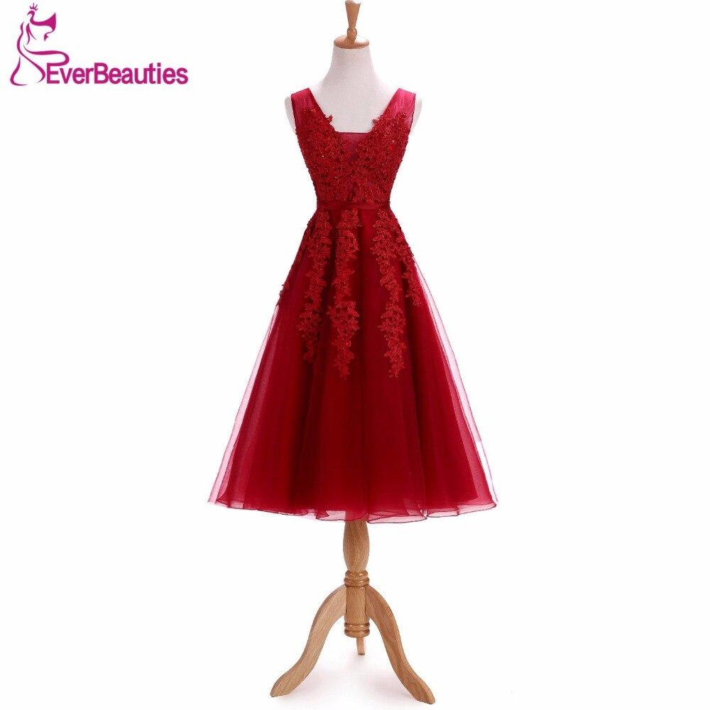 Vin rouge appliqué robes De soirée a-ligne femmes Robe De soirée longueur thé élégant fête formelle Robe De bal 2019 Abendkleider