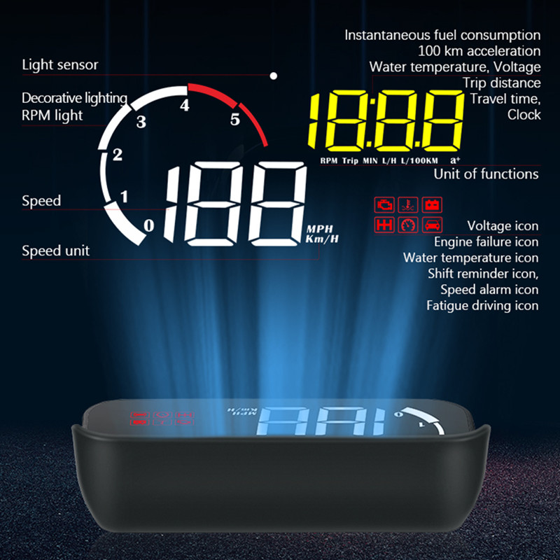 Image 3 - GEYIREN 2019 Newest M10 HUD display With Lens Hood yellow led Windshield Projector head up display OBD Scanner Speed Fuel Warnin-in Head-up Display from Automobiles & Motorcycles