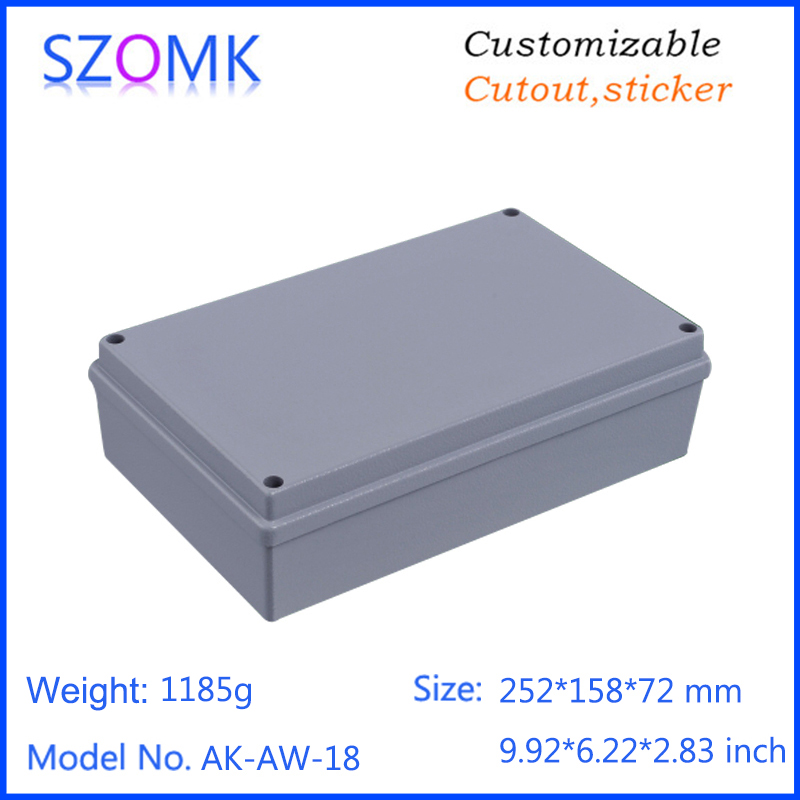 1 piece, 252*158*72mm szomk electrical waterproof aluminum die cast enclosure amplifier junction box IP66 aluminum case