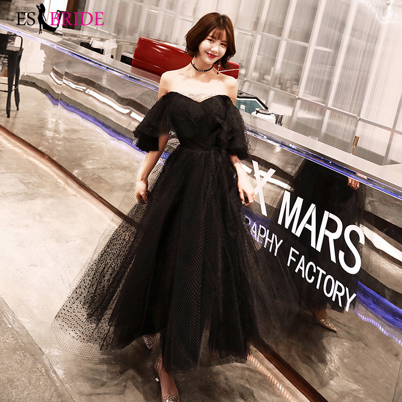 Black Sexy Boat-neck Vestidos De Fiesta De Noche Long 2019 New   Evening     Dresses   A-line   Evening     Dress   Robe De Soiree ES2418