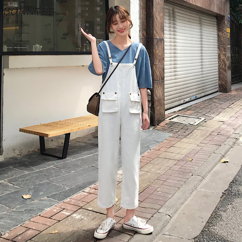 Jeans Women Spring Summer Trendy Overalls Simple Solid Kawaii Ulzzang Harajuku Streetwear High Quality Womens Trousers Casual
