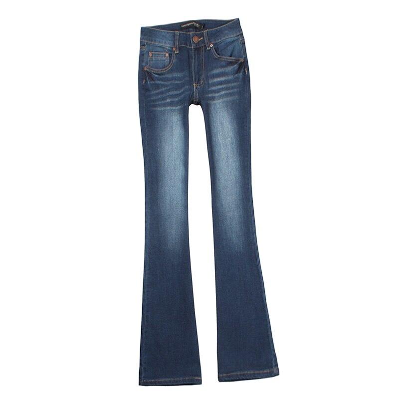 Petit Taille Jeans Flare Rayé Bleu Blanchis Haute Femmes Femme EwyHqBynW