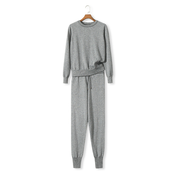 Tracksuits Real Wool Full O-neck Drawstring 2019 winter New Woman Cashmere Knit Suit Wire Ice Two-piece Female
