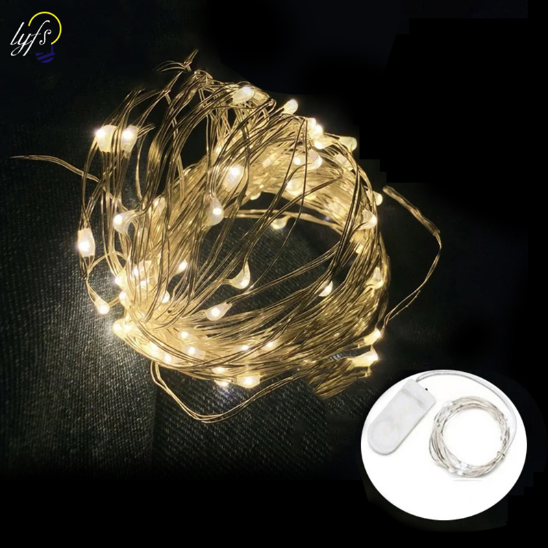 Lyfs 5m/10M 100LED 2 button <font><b>Battery</b></font> Powered Copper <font><b>Wire</b></font> String Lights Indoor Outdoor for wedding new year party decor image