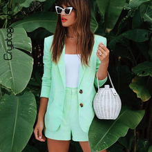 Cryptographic Mint Fashion Womens Suits Blazer with Shorts Outfits Two Pieces Blazers Matching Sets High Waist Streetwear