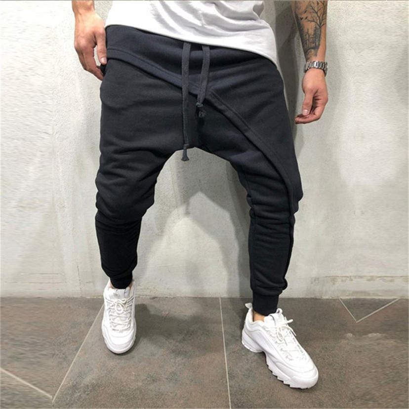 men pencil trouser Men Asymetric Layered Jogger Pants Hip Hop Streetwear Jogger Pants Casual Drawstring Close Bottom Pants Men gym joggers