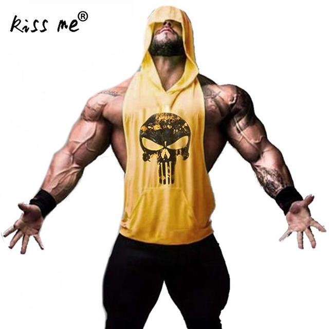 fed8146bd6a7e9 kiss me mens tank tops shirt muscle sleeveless hooded top men punisher  singlet bodybuilding vest stringer workout body engineers