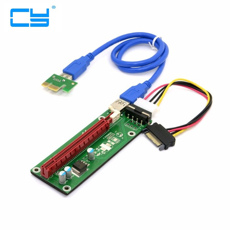 60 cm  PCIE PCI-E 1x a 16x Expresso Riser Cartao SATA 4pin fonte de Alimentacao com USB 3.0 Cabo De Dados Para Maquina Minei frete gratis 5m usb 2 0 para mini 5 pin m m de cabo de alimentacao de um do sexo masculino para 5 p masculino b para gps mp3 mp4