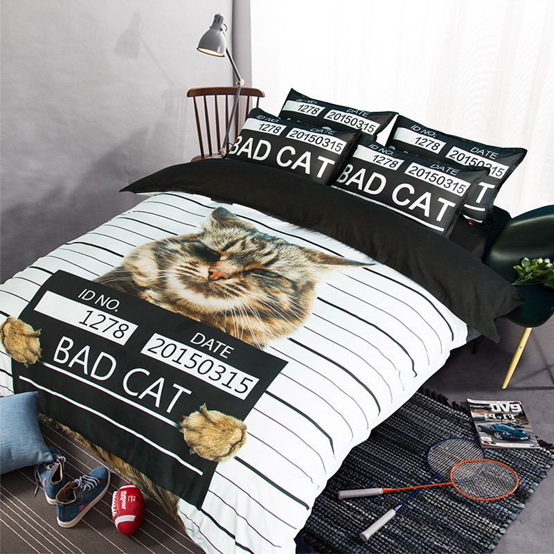 Cat Print Black And White Stripes Bedding Set Twin Queen King Size Duvet  Covers Bed Sheets With Pillowcase Cute Bedroom Sets In Bedding Sets From  Home ...