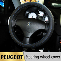 Leather Car Steering Wheel Cover Case For Peugeot 308 307 206 207 407 508 2008 3008