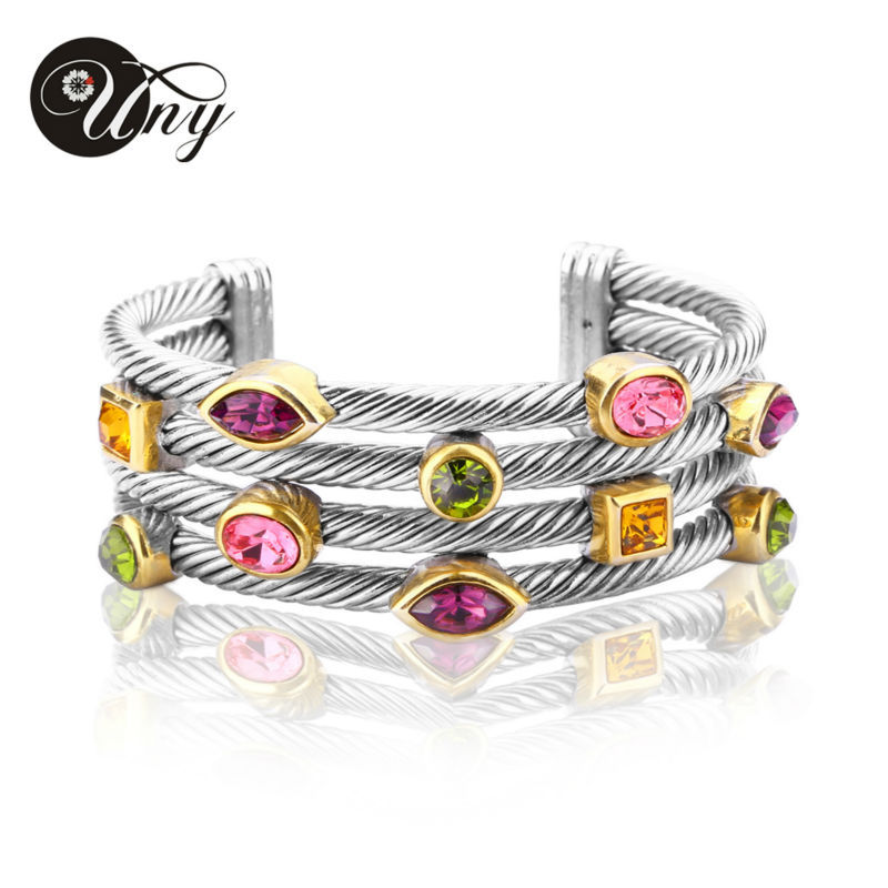 UNY Bracelet Multi Twisted Cable Wire Bangle Vintage Fashion Bangles Free Ship Unique Designer Brand Christmas