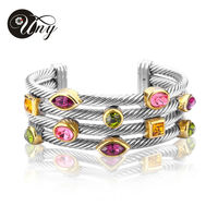 UNY Bracelet Multi Twisted Cable Wire Bangle Vintage Fashion Bangles Free Ship Unique Designer Brand Christmas Cuff Bracelets