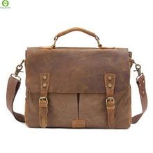 Vintage Crossbody Bag Genuine Leather shoulder bags Military Men messenger laptop men's leather Handbag tote Canvas Briefcase