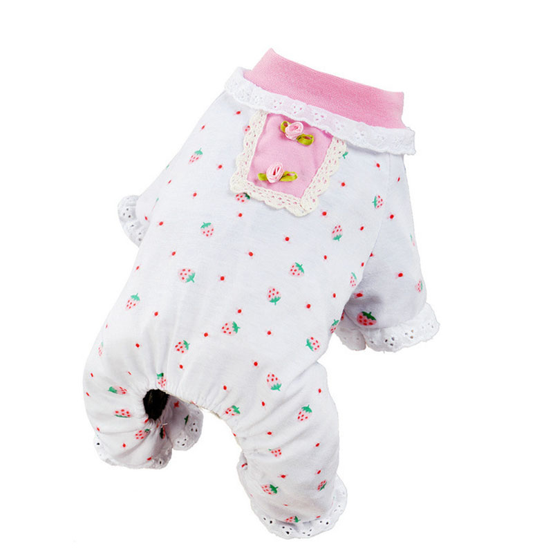 Cotton Pets Dog Pajamas Lace Cute Lovely Autumn Warmer Soft Cozy Puppy Cat Sleeping Wear Clothes Jumpsuit FG In Sets From Home Garden On