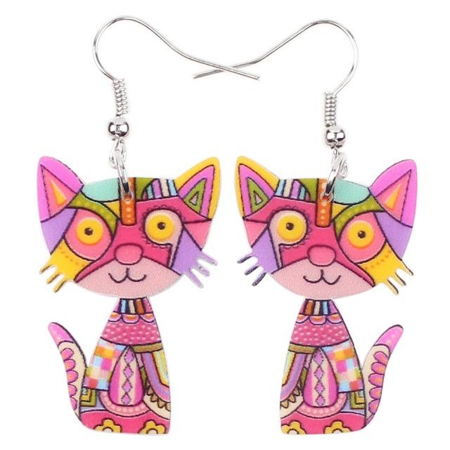 Bonsny Drop Cat Acrylic Earrings