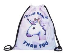 1 piece unicorn animal horse corn 3D printing travel softback mochila drawstring bag Schoolbag backpack(China)