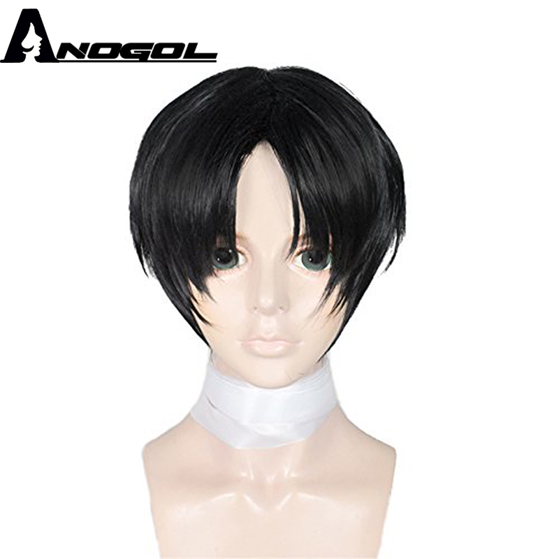 Anogol Natural Short Straight Layered Black Synthetic Mens Cosplay Wig For Halloween ...
