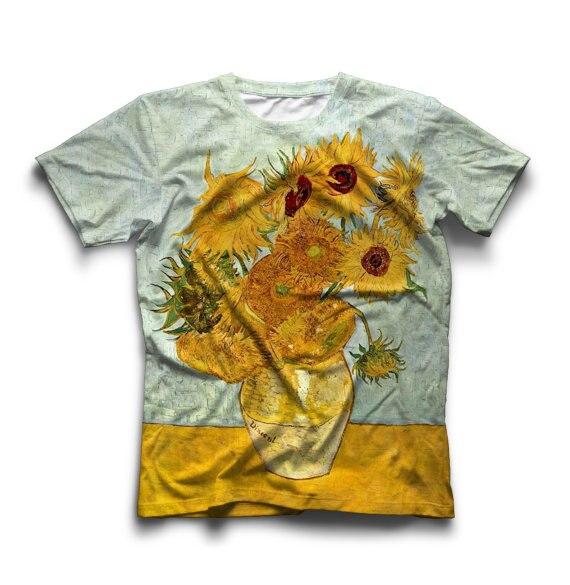 Van Gogh Amande/Autoportrait/Nuit Étoilée/Van Gogh 3D Imprimé T-Shirt Décontracté Tournesols T-shirts Unisexe Haute qualité Tops Tenues