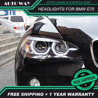 Стайлинга автомобилей корпус передней фары для BMW X5 E70 2007 2013 светодиодный фары BMW X5 E70 светодиодный фар H7 D2H ангел спрятал глаза биксеноновые ф