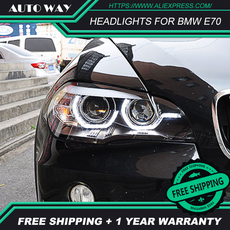 Car Styling Head Lamp case for BMW X5 E70 2007-2013 LEDHeadlights BMW X5 E70 LED Headlight H7 D2H Hid Angel Eye Bi Xenon Beam car styling frp auto body kits bumper for bmw e70 x5 2008 2013