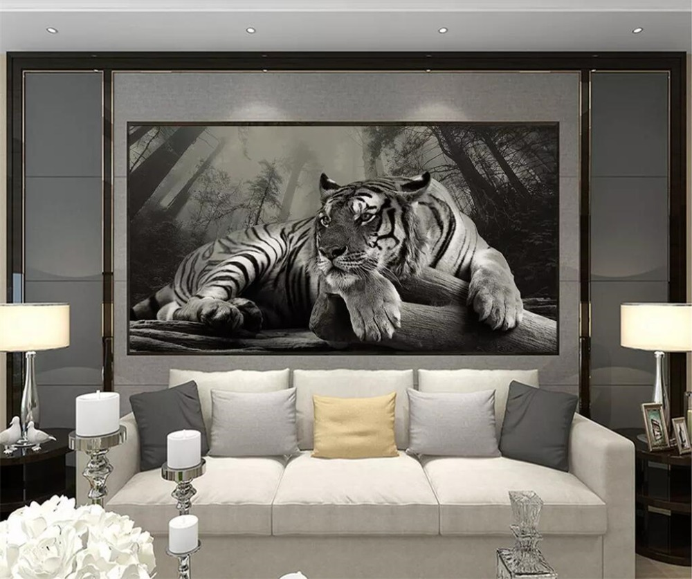 beibehang Custom wallpaper 3d murals Nordic minimalist creative tiger forest background wall decorative painting 3d wallpaper in Wallpapers from Home Improvement