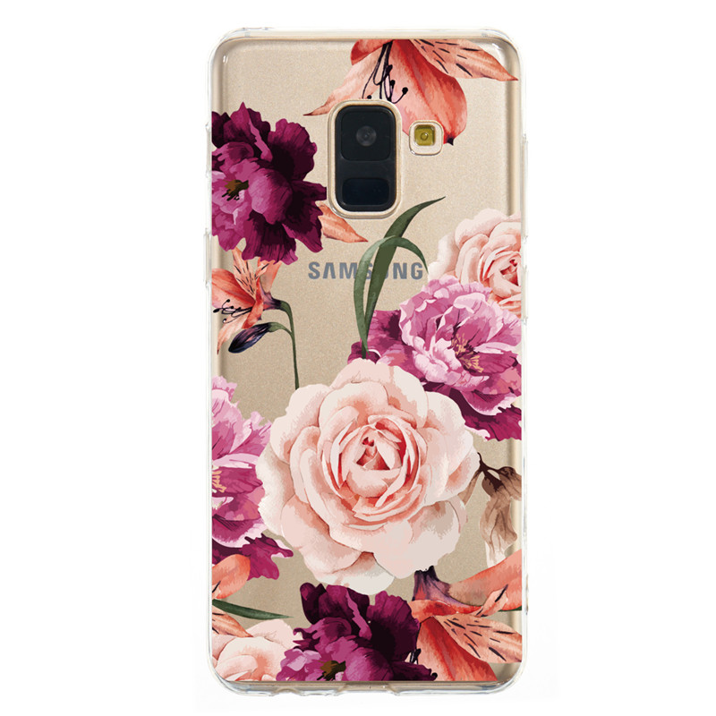 Ultra thin Silicone Clear Floral Pattern Cases For Samsung Galaxy S10 S9 S8 Plus Edge J3 J4 J5 J6 J7 2017 2018 Plus A7 A9 2018 in Fitted Cases from Cellphones Telecommunications