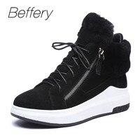 Beffery/женская зимняя обувь, модные кроссовки на танкетке, теплая шерстяная обувь на шнуровке с высоким берцем, Женская замшевая обувь на плат
