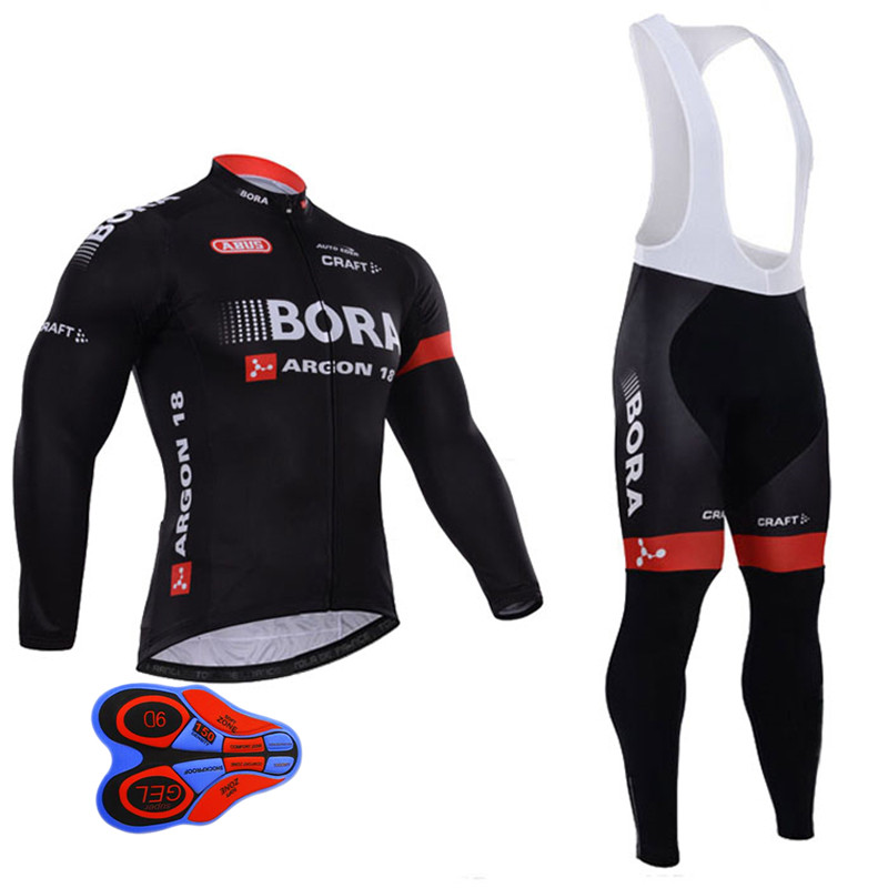 New 2017 Bora Cycling Jersey Set Long Sleeve 9d Gel Padded Sets Bike Clothing MTB Protective Wear Cycling Cycle Clothes Black xintown new 2018 spring cycling jersey set long sleeve 3d gel padded sets bike clothing mtb protective wear cycling clothes sets