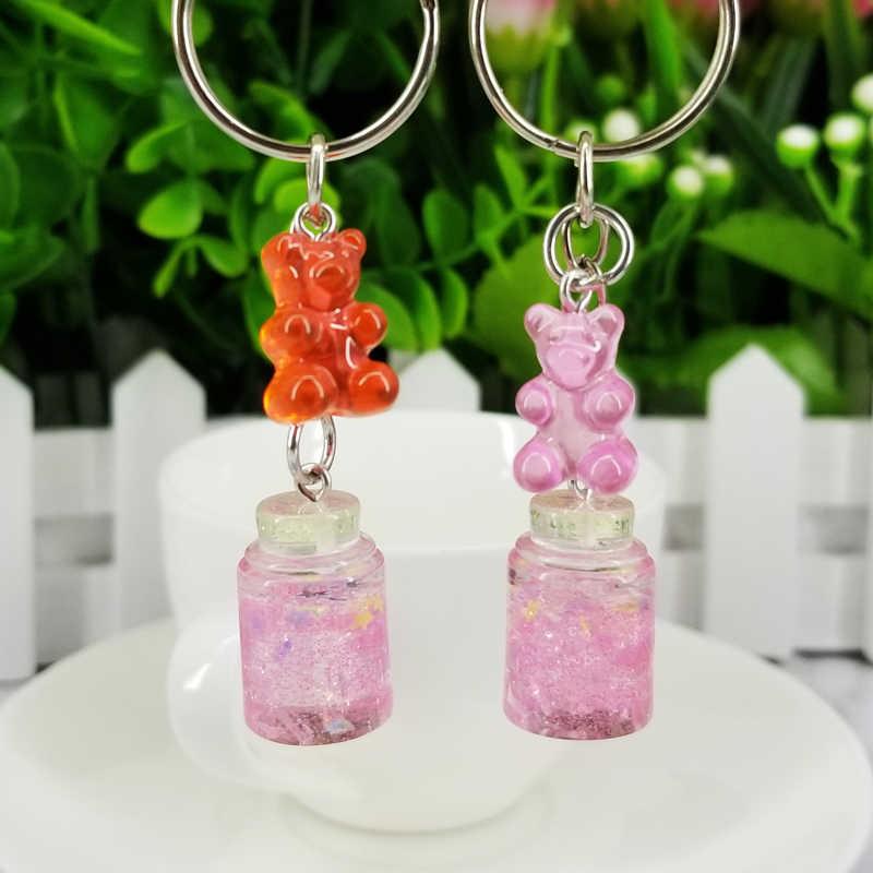 Chaveiro urso Lantejoulas Garrafa Desejando Acessórios Do Telefone Chaveiro Pingentes Decorativos para Mulheres Sacos Chave Do Carro Presentes da Festa de Casamento