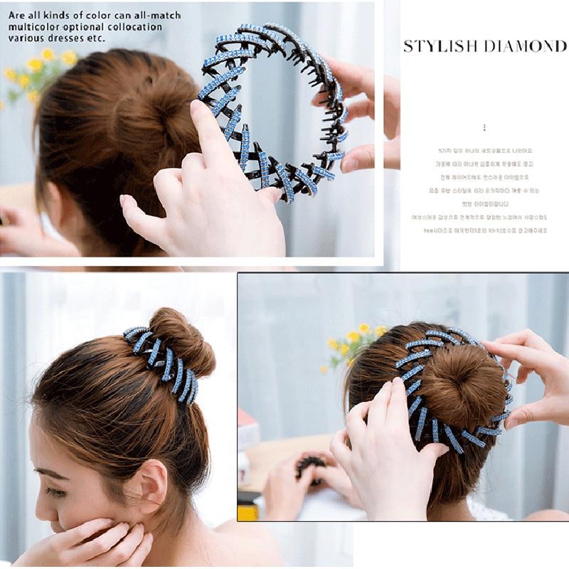 Women Meatball Hair Accessories Hair Claws Headwear Rhinestone Hairpin Bird Nest