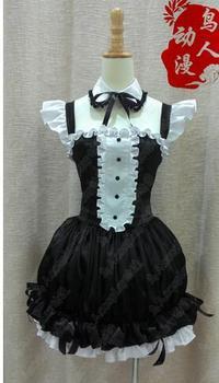 Japanese Anime Super Sonico Cosplay Costumes & Accessories Cosplay Maid Black Dress Custom Made