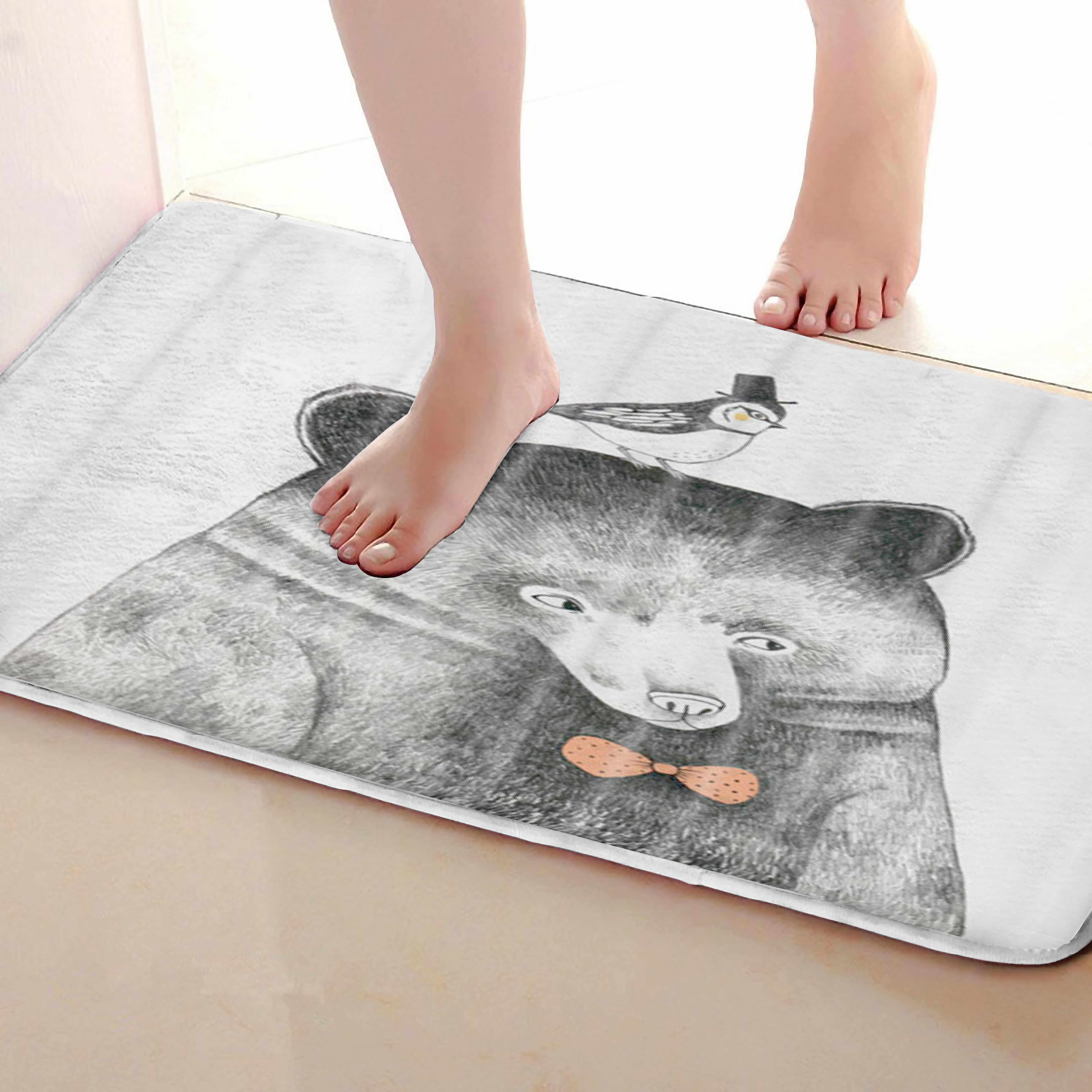 Bear Style Bathroom Mat,Funny Anti Skid Bath Mat,Shower Curtains Accessories,Matching Your Shower Curtain