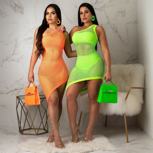 2019 New Women Ladies Solid Summer Holiday Beach Bikini Cover up Swimwear Mesh Lace Robe Plage Beach Wrap Mini Dress in Dresses from Women 39 s Clothing