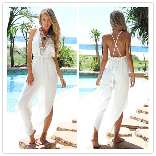 9d304f9a234d New Fashion Swimsuit Cover Up Sexy Backless Jumpsuit Swim Cover Up White  Beach Wear Plus Size Pareo Tunic Swimwear