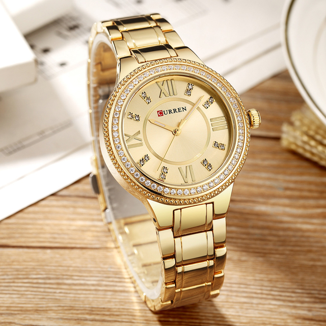 NEW Women's Fashion Watches Curren Luxury Gold Stainless Steel Quartz Watch Ladies Dress Jewelry For Women Gifts Wristwatches