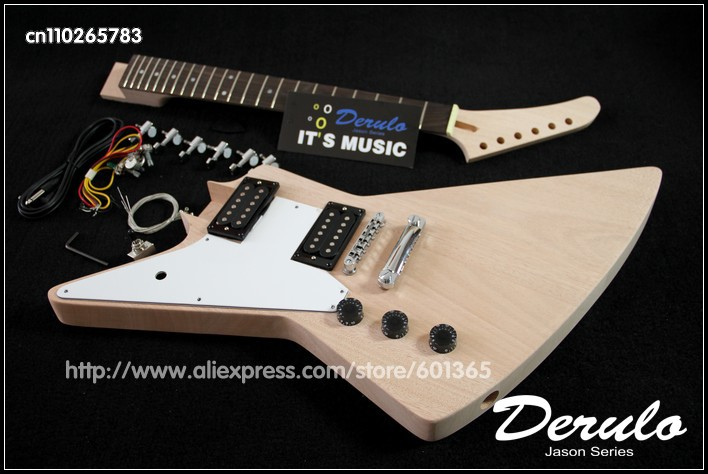 DIY Electric Guitar Kit Left Handed Set-In Solid Mahogany Body & Neck free shipping new unfinished left hand electric guitar in natural color with mahogany body diy your guitar foam box f 1195