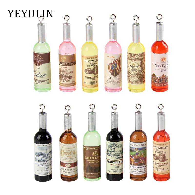 12pcs Mixed Color Wine Bottle Charms Pendants For Necklace Bracelet DIY Jewelry Making 12*52mm(China)
