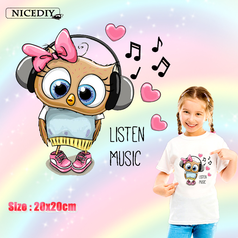 Nicediy Cute Cartoon Owl Patches Heat Transfer Iron On Clothes Stickers Print Thermal Transfers Applique Badge Decor