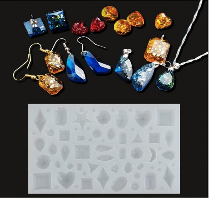 43 Patterns Beads Pendant Earrings Silicone Mold For Jewelry Resin Silicone Mould Geometry Molds Heart Square Round Star Moon