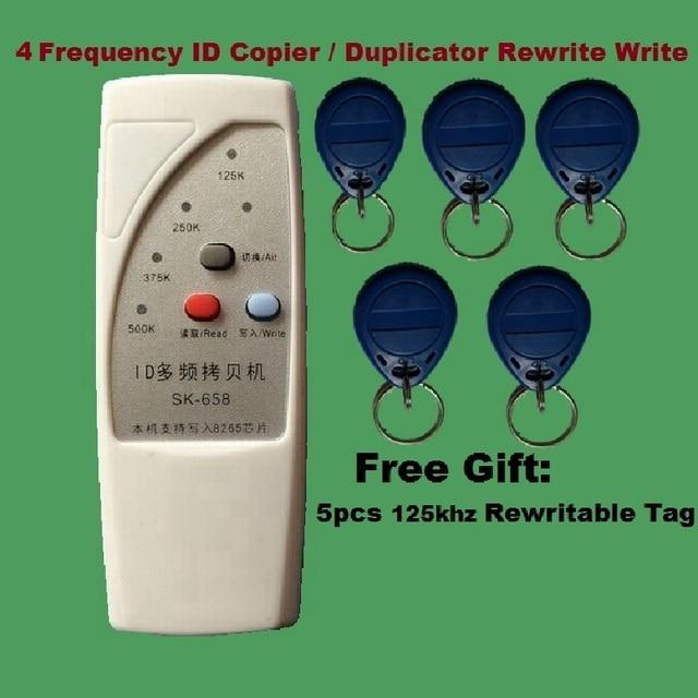 Computadora de mano 4 Frecuencia 125 khz 250 k 375 k 500 k RFID Copiadora/Duplicador/Cloner ID EM Lector y Escritor y 5 unids Reescribir la Etiqueta de Envío gratis