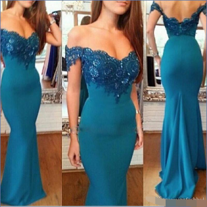 Fashion Simple Elegant Appliques Lace Deep V Neck Mermaid Long robe de soiree Formal Women Evening Dress 2019 sexy Prom Dresses in Evening Dresses from Weddings Events