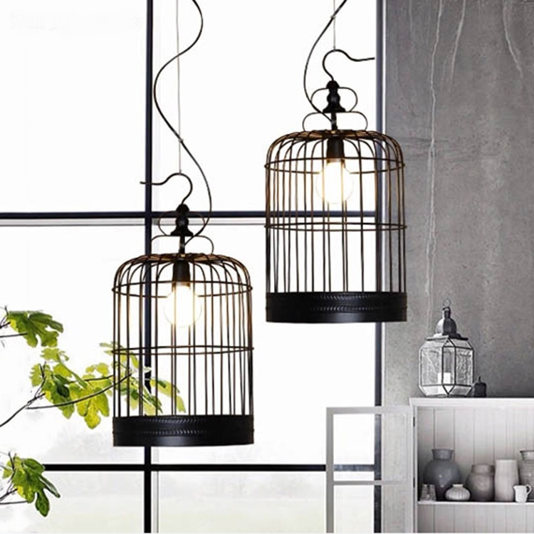 black cage pendant lamps Loft iron lanterns pendant lights retro Restaurant Bar Cafe hone lighting lamp industrial windZA restaurant bar cafe pendant lights retro hone lighting lamp industrial wind black cage loft iron lanterns pendant lamps za10