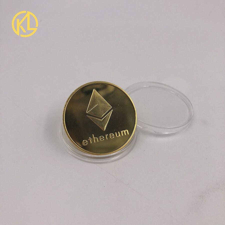 ETH золото/серебряное покрытие с рисунком эфириума Биткоин рельефный стерео Биткоин цифровая валюта монета физический памятный бит металл