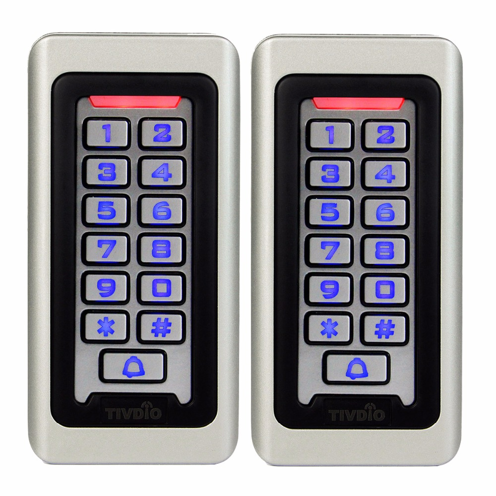 2pcs TIVDIO Keypad RFID Access Control System Proximity Card Standalone 2000 Users Door Access Control Waterproof Case F9501D