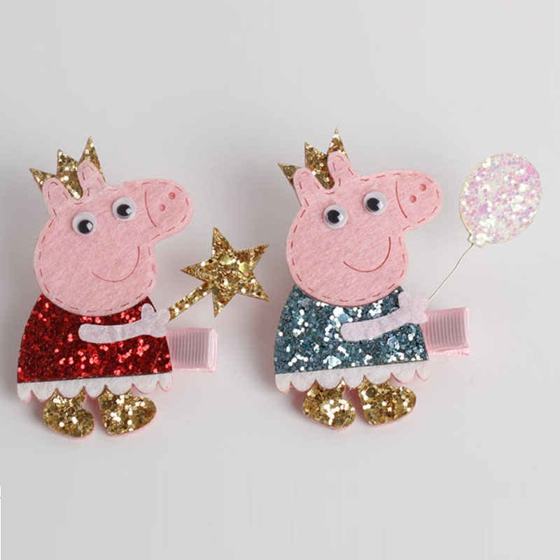 Glitter Felt Cartoon Pig Hairpins Sparkly Crown Animal Hair clips barrettes Lovely Princess headdress Hair accessories for girl 1piece retail kids girl styling tools crown hair clips princess hairpins bow headbands for party accessories