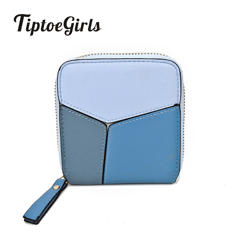 Small Fresh Female Student Zipper Wallet Short Paragraph Wallet Card Bit Hit Color Thin Female Korean Version of a Small Wallet