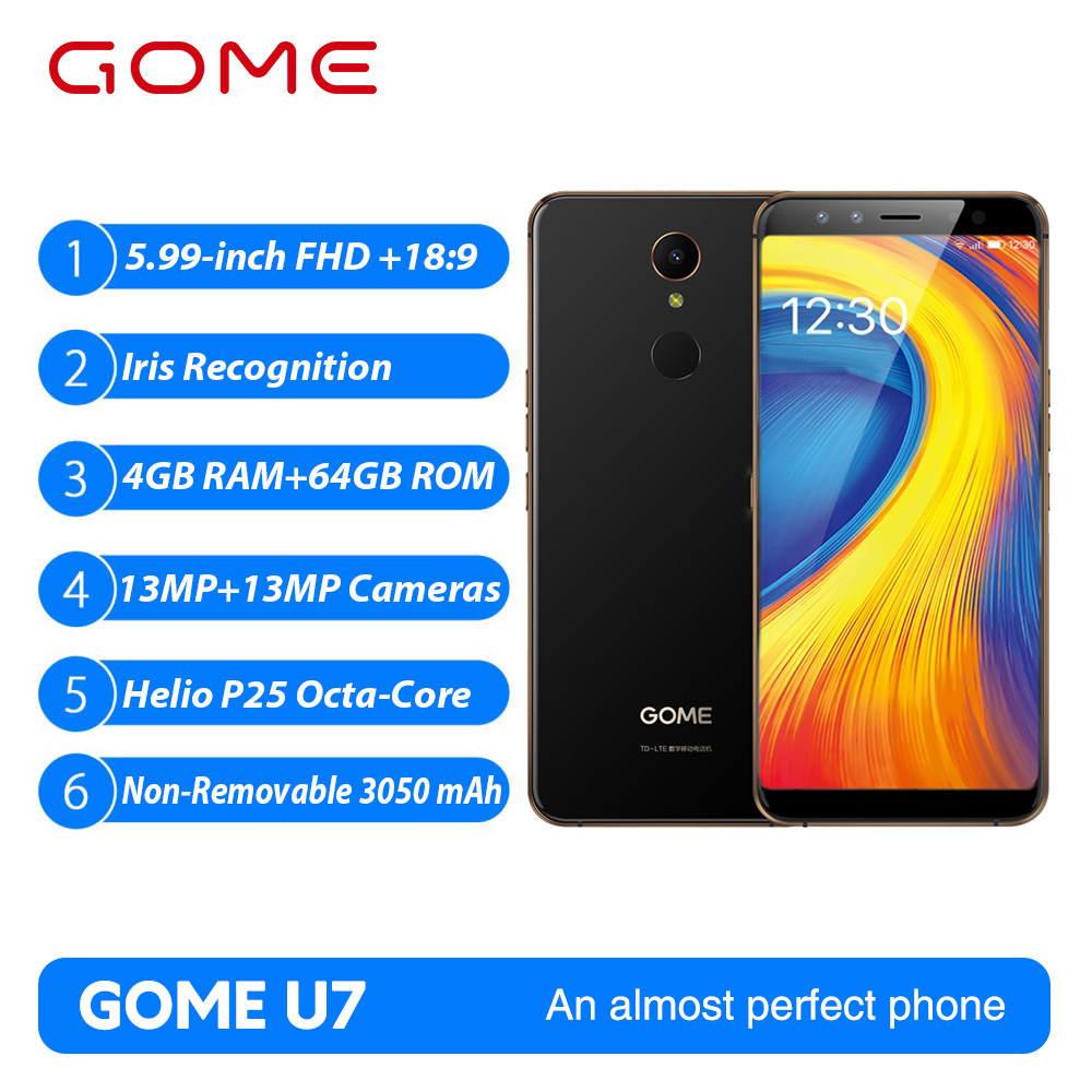 Gome U7 5.99inch 18:9FHD 3050mAh mobile phone 4GB 64GB MTK6757CD Android 7.1 Octa core OTG NFC Fingerprint 4G LTE Smartphone