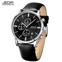 JEDIR Marcas Hombres Relojes Cronógrafo de Cuero de Ocio reloj de Lujo Reloj Del Calendario Deportivo Reloj de Cuarzo relogio masculino