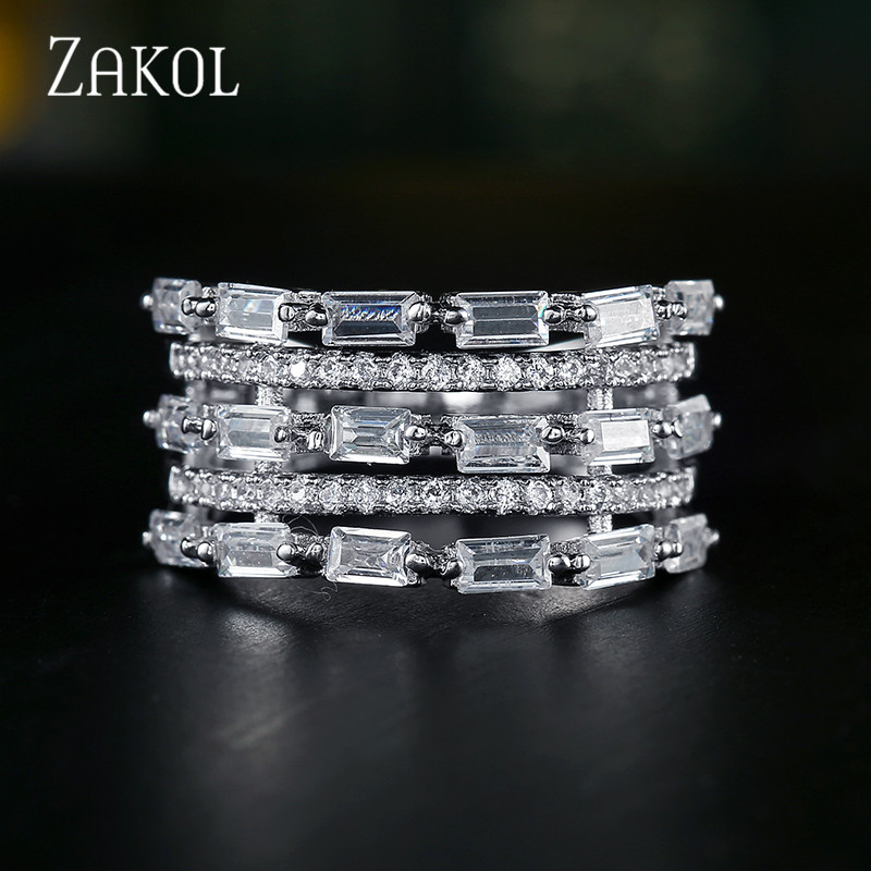 ZAKOL New AAA Cubic Zirconia Multi-layered Finger Rings Fashion Cooper Base Rings Womens Accessaries FSRP1041